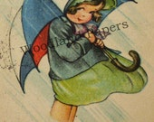 WWI postcard - young girl with a large umbrella, weathering a storm