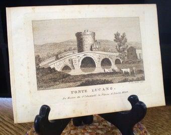 Ponte Lucano, Beautiful Rome - antique book plate print