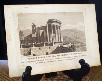 Tempio Della Sibilla Tiburtina a Tivoli, Beautiful Rome - antique book plate print