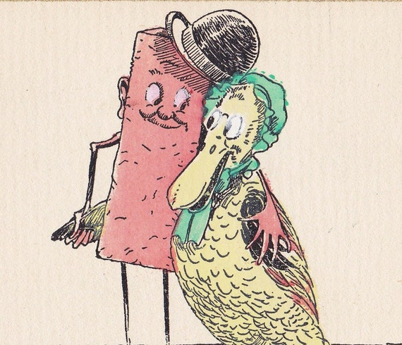Hand-colored 1920s anniversary card - UNUSED with original lined envelope
