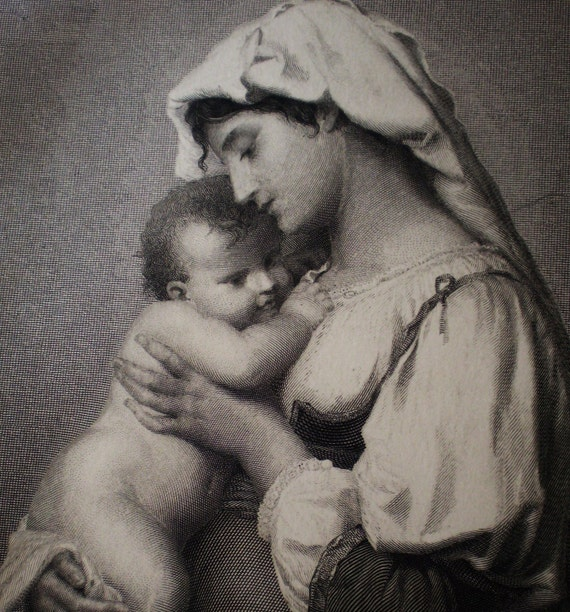 Mother & Baby, steel engraving - Art Journal book plate - 1870s