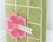 Paper Flower Square Just for You Handmade Greeting Card