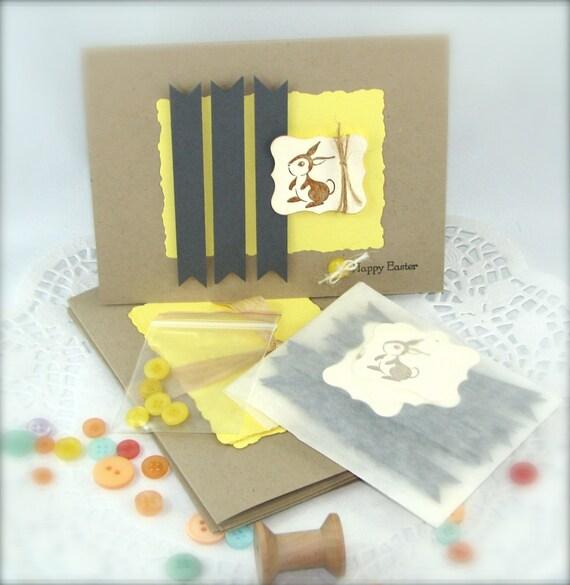 DIY Easter Brown Rabbit Card Making Kit in Kraft Yellow & Grey Colors - Makes 5 -