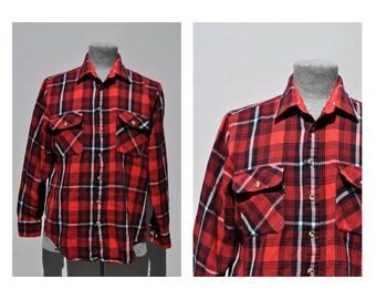 vintage plaid wool shirt vintage mens shirt large