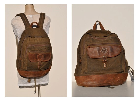Vintage Backpack With Leather Bottom Waxed Eddie Bauer Carry