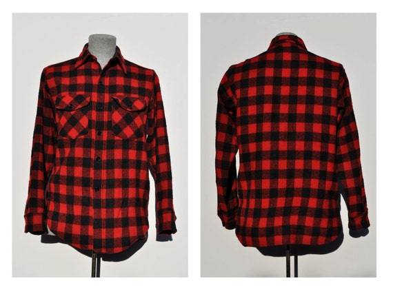 vintage plaid wool shirt black and red woolrich fitted MEDIUM