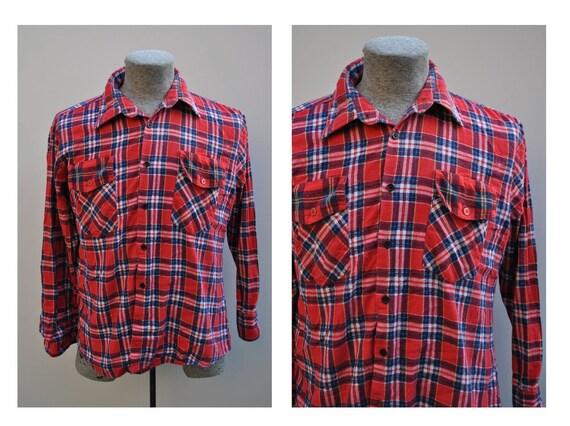 vintage flannel shirt by BUD BERMA highlander flannel vintage plaid shirt cotton LARGE