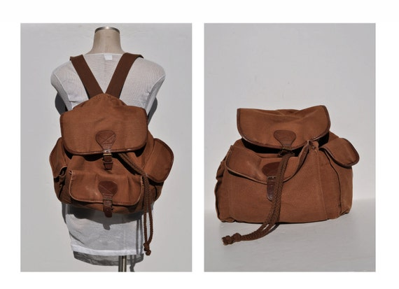 vintage backpack canvas  and leather back pack  carry on daypack day pack