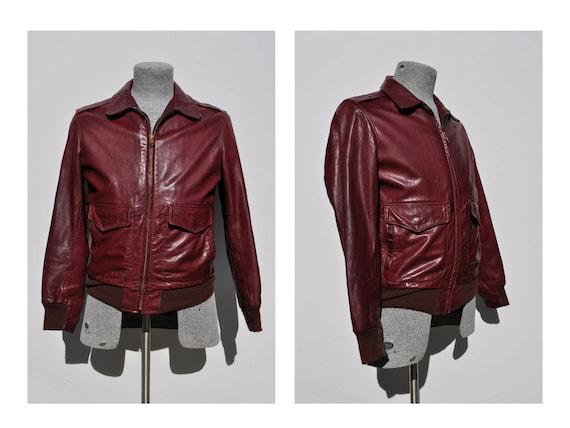 vintage leather jacket 1970s bomber flight jacket size