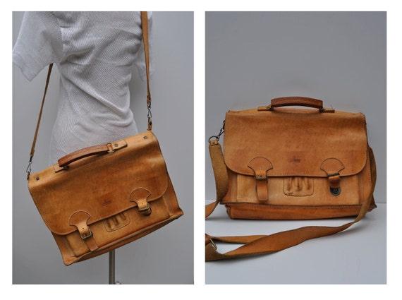 vintage leather bag satchel briefcase tote messenger bag laptop ipad saddle leather bree