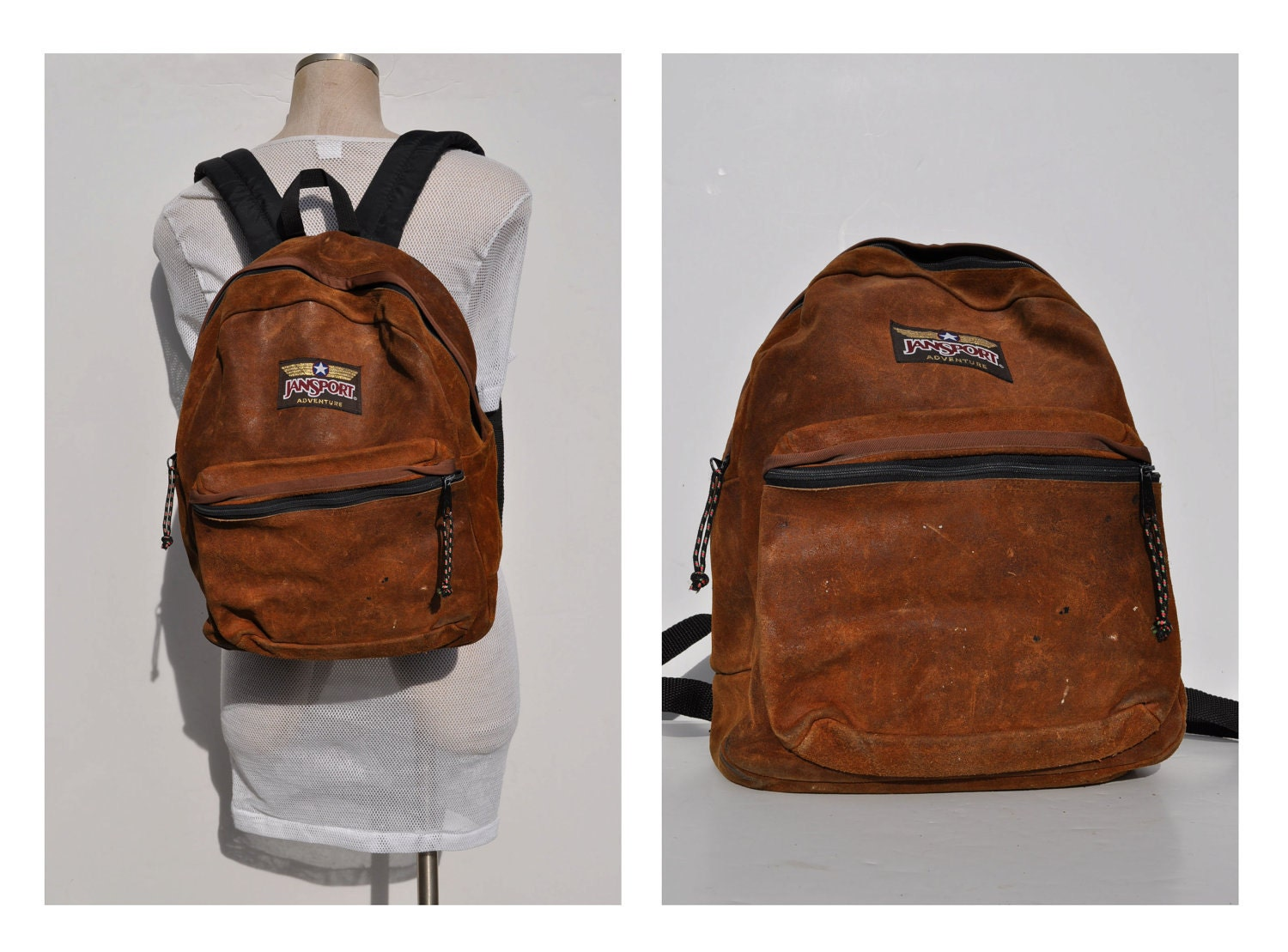 vintage leather backpack jansport back pack rucksack by. Black Bedroom Furniture Sets. Home Design Ideas