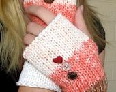 Brown, Peach & Cream Fingerless Gloves with Heart Buttons