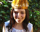 RESERVED FOR JULIAMARQUARDT Orange feather headdress