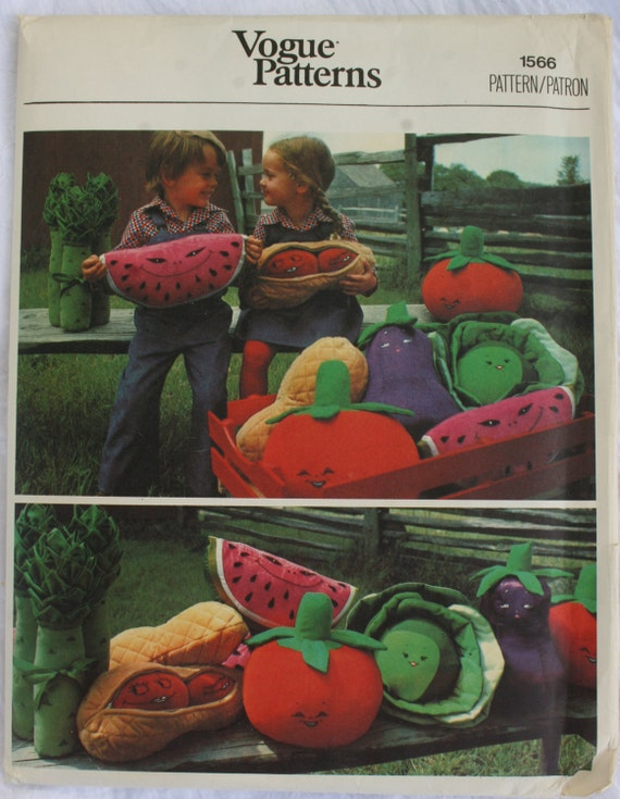 vintage vogue stuffed fruits and vegetables pattern