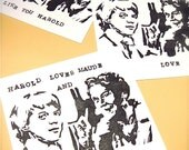 set of 3 assorted large  Harold and Maude note cards with envelopes