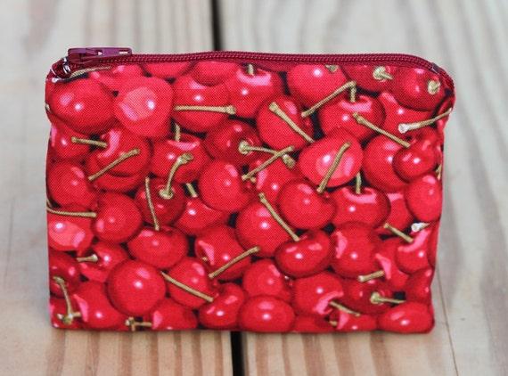 5 inch Zipper Pouch - Cherries