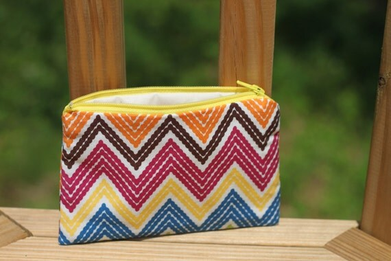 Small Zipper Pouch - Chevron Multicolor