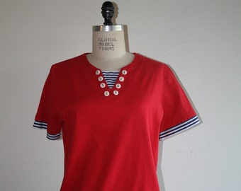 VTG / 80s / Vintage Red Cotton Nautical Sailor Shirt / small / medium