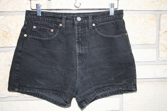 Vintage 1990s High Waist Black Ellemeno Demin Shorts...Jean Shorts...