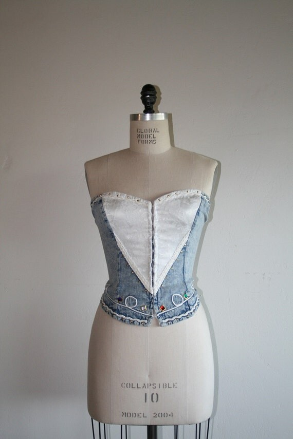 VTG/ 80s / Vintage Stapless Denim and Rhinestone Studded Bustier / xs / small