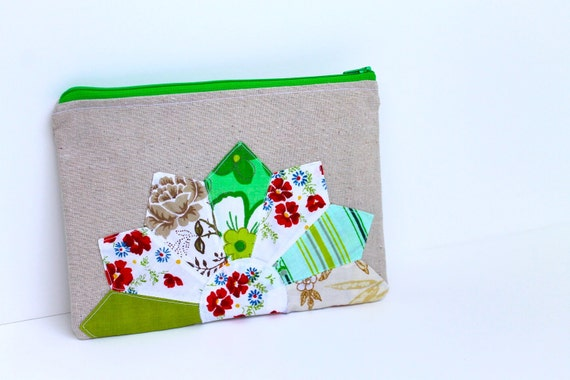 Vintage Dresden Zippered Clutch - Seagoing Green