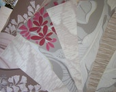 Vintage Wallpaper Sheets 8 x 10 Tropical Taupe Leaves and Pink Roses