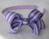 Purple Stripe and Lilac Grosgrain Headband