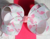 Large Boutique Hair Bow in Pink Flamingo Grosgrain