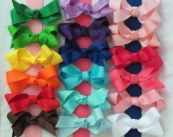 10 Pack- Medium Solid Grosgrain Hair Bows