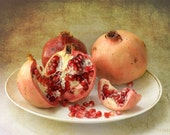 Printable art Photo Download kitchen decor Pomegranates fruits rustic home decor  red peach rust brown digital download