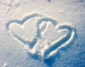 Digital download Hearts drawn on snow Winter photo digital download make your own cards diy