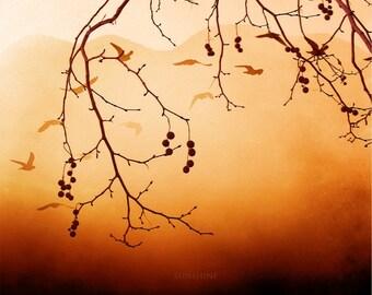 Digital download Autumn Fall photography Orange home decor wall art tree branches Printable art