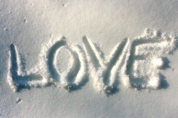 printable art Photo Download Love written on snow - Winter photo - Any size up to 20x30 digital download - make your own cards