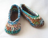 Crochet Women's (You Choose Size) Slippers House Shoes Self Striping Yarn Rust Green Turqouise and More