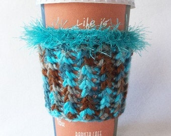 Crochet Coffee Cup Cozy Sleeve Turquoise and Brown with Eyelash yarn Trim
