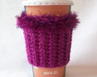 Crochet Coffee Cup Cozy Sleeve Dark Fushia and Eyelash yarn Trim