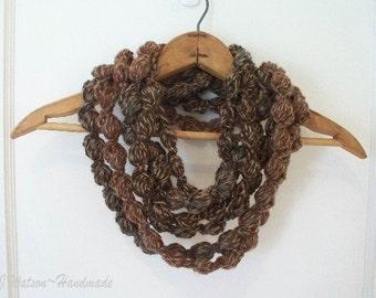 Crocheted Womens Loop d Loop Bobble Scarf Neckwarmer Necklace Brown Teal Rust and Beige