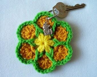 Crochet Flower Keychain Springtime with Cat's Love Charm