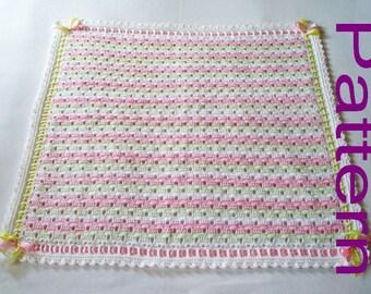 Crochet Baby Blanket PDF Pattern Peek A Boo Baby Girl Blanket Afghan Original Design