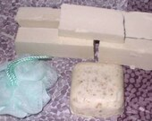 Bulk lot of lye,goatsmilk,oatmeal, and tallow soap with scrubbie