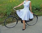 blue polka dots dress