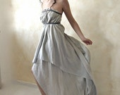 RESERVED listing for final payment -Ethereal fairy gown in dusty light blue rough silk