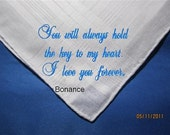 A Promise of Love - A Custom Hankie with Brides loving Personalized thoughts to her Groom, Gift Boxed, hankerchief with LOVE.