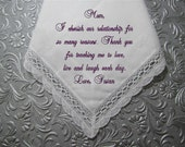 Especially for Lisa A Bride's Love to Her Mother on her Wedding Day, Unique Keepsake Embroidery, use your own words. Includes gift envelop