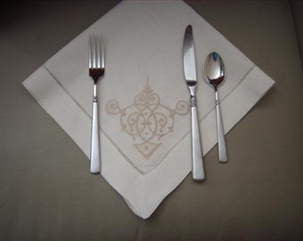 Fine Linen Napkins. Bridal Gift. Heirloom Quality-Anniversary Ready-Elegant Wedding Gift Ideas. Luxury Linen with design or monogram