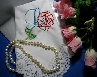 Valentine Gift - Chic and Elegant Bridal Gift, Monogrammed Hankie, Heirloom Quality, Gift Envelop, Hankerchief with Personalized design.