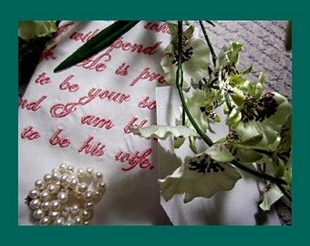 Custom Bridal Handkerchiefs, for Loved Ones, Understated Elegance for your very special day. Custom Wording at No Charge