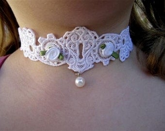 Unique and Delicate Bridesmaids and Flower Girl Necklace.  Custom colors available.  Shabby Chic or STEAMPUNK. Guaranteed to please any teen