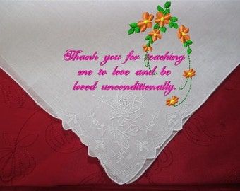 Godmothers Gift  - Just for You for Your Wedding, heirloom quality, colors of your choice, a hankerchief