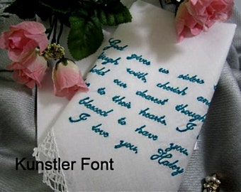 A Bride to her Sister-butterflies are free and so are flowers & scrolls. A hankerchief to remember a special day. Personal w/gift envelop
